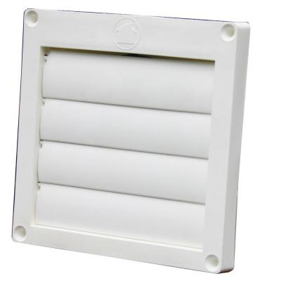 4 in. Louvered Plastic Flush Exhaust Hood in White without Tail Pipe