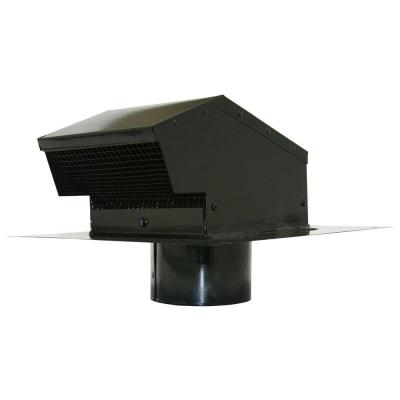 4 in. Galvanized Flush Roof Cap in Black with Removable Screen, Backdraft Damper and 4 in. Collar